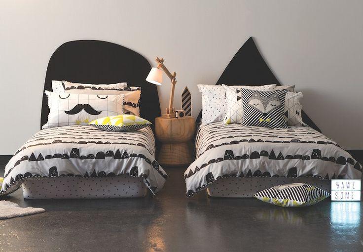 Cotton On Kids Bedding - Black and White Fox Bedding