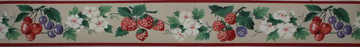 Rosie's Vintage Wallpaper - Dex Vintage Wallpaper Border Berry Blossom, $15.00…