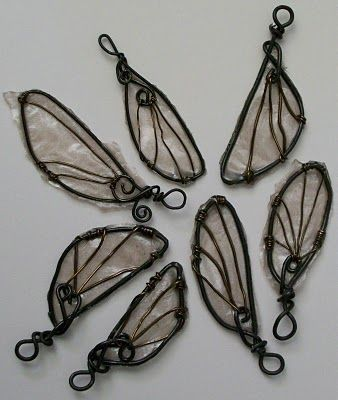 cool fairy wings made from wire, tissue paper and resin