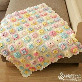 Delicadezas en crochet Gabriela: Hermosa manta floral tanto para niños como adultos unos tonos pastel maravillosos!