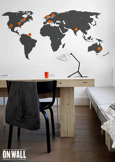 World map wall decal - Large Detailed World map mural  with point signs - WM004 on Etsy, $49.42 AUD