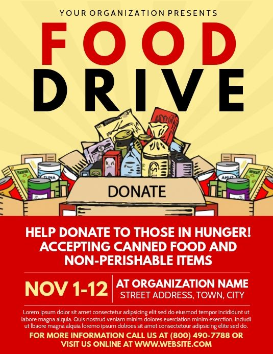 food drive flyer templates, fundraiser flyers, food ...