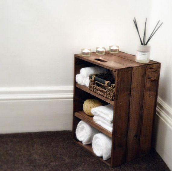 Rustic Wooden Bathroom / Bedroom Storage Cabinet by Crates4YouUK