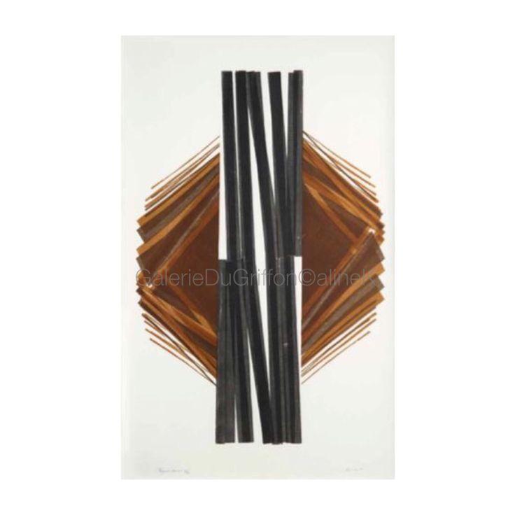 ➕ MARIA BONOMI ( née en 1935)  TRAGÉDIE COSMIQUE, 1970 Xylogravure/Xylographie sur Contreplaqué et bois de fil, 170 x 108 cm   Signée et numérotée 16/20