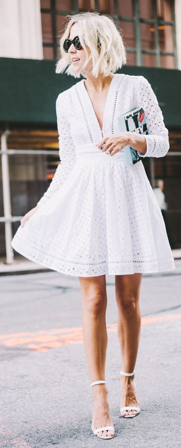 White Eyelet Dress by Damsel In Dior - pretty, but make it about 4 inches longer......