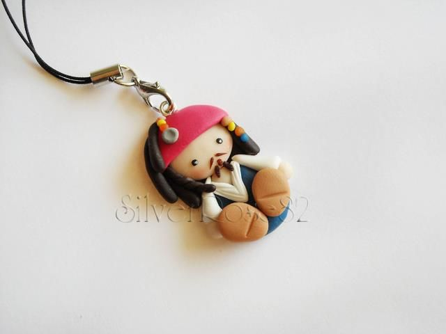 Pirates of the Caribbean, Captain Jack Sparrow #polymer #clay charm! Cute.