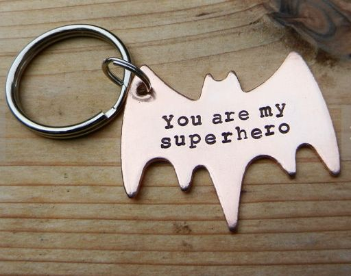 """Gifts for Him: """"You Are My Superhero"""" Batman Symbol Keychain by RAE Jewelry Designs @ Etsy"""