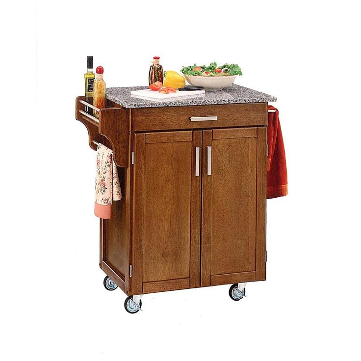 Home Marketplace Small Kitchen Cart - Cottage Oak with Salt and Pepper Granite Top