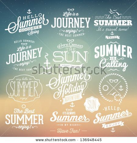 Retro elements for Summer calligraphic designs   Vintage ornaments   All for Summer holidays   tropical paradise, sea, sunshine, weekend tou...