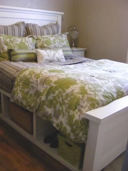 Farmhouse Storage Bed with Hinged Footboard | Do It Yourself Home Projects from Ana White. I love the storage and the footboard door. Although, I'd make it open like double doors.