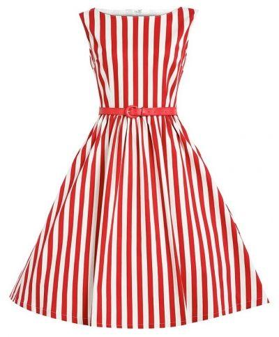 LindyBop retro šaty Audrey, červené proužky