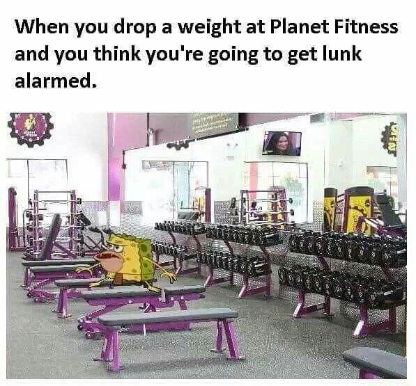 Planet fitness lunk alarm meme sponge Bob caveman