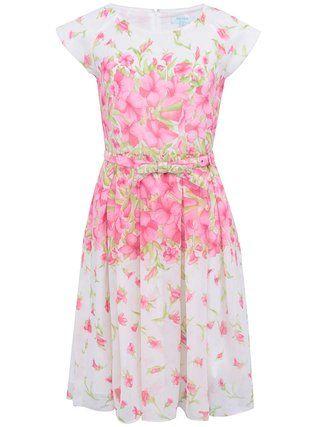 Fever London - Bílé šaty s růžovými květy  Petunia - 1