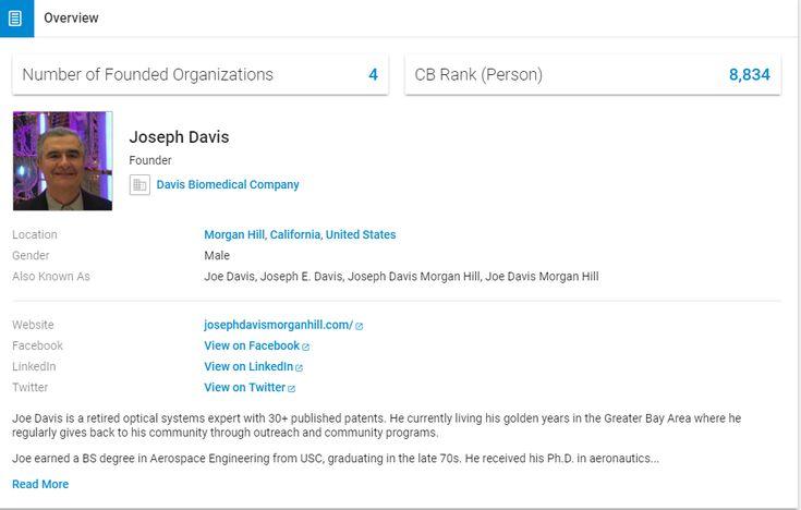 Learn more about Joe Davis on his comprehensive Crunchbase profile