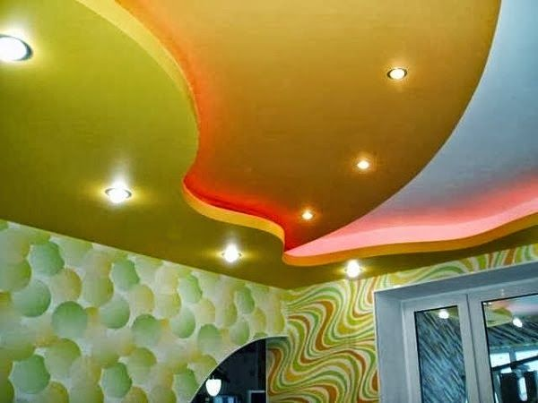 10 Gypsum false ceiling designs for living room with LED ceiling lights
