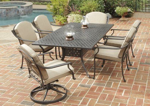 Home Styles Covington 72 in. Cast Aluminum Patio Dining Set - Seats 6 by Home Styles. $2649.99. Create a cozy, stylish backyard oasis with the Home Styles Covington 72 in. Cast Aluminum Patio Dining Set - Seats 6. This weather-resistant set features a spacious table, four arm chairs, and two swivel chairs made of cast aluminum with a UV-resistant, powder-coated chocolate metallic finish. The tabletop is designed to prevent damage caused from pooling by allowing w...