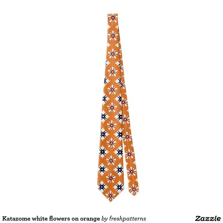 Katazome white flowers on orange tie