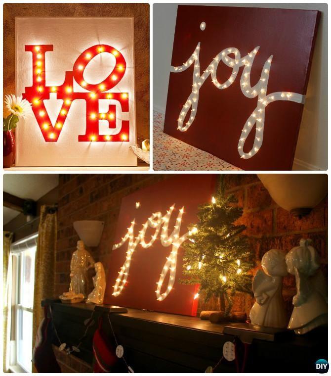 diy string light backlit canvas art ideas crafts light up word love joy canvas
