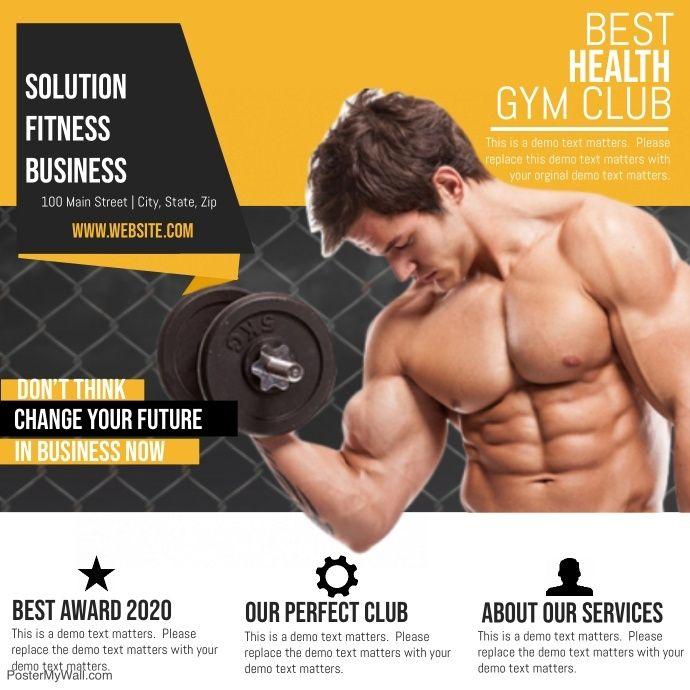 Fitness Gym Club Fitness Social Media Graphics