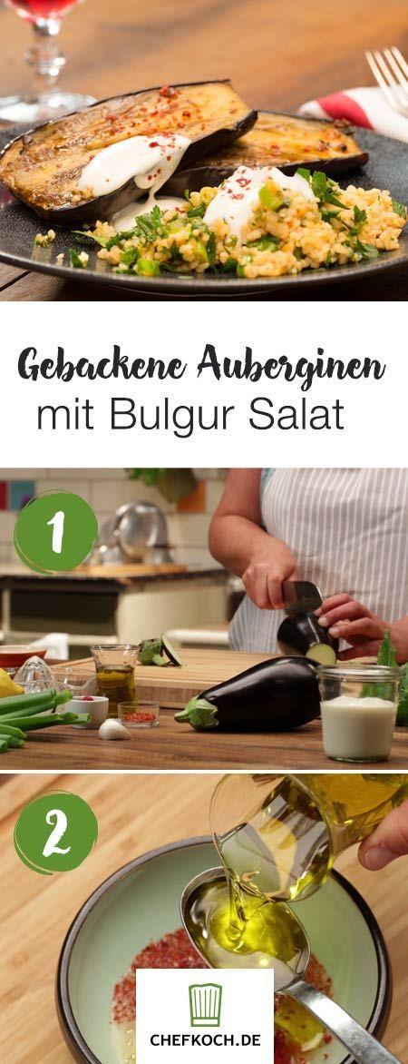 Gebackene Aubergine mit Bulgursalat   – 1001 Nacht – Rezepte