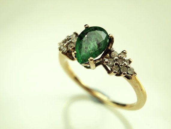 Diamond Emerald Engagement Ring Vintage by BelmontandBellamy, £189.00