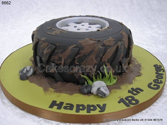 Off road vehicle road wheel and tyre shaped cake with a very muddy splashed effect http://www.cakescrazy.co.uk/details/off-road-wheel-and-tyre-cake-8662.html: