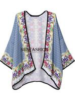 2015 la nueva manera de las mujeres retras de impresión tribal Patrones Loose Chaqueta Kimono media manga Outvwear Cardigan Ropa floral Kimonos