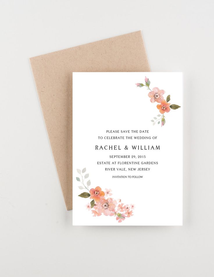 tie the knot wedding invitations etsy%0A Blush and Peach Blossoms Save The Date  Blush Pink and Fuchsia  Bridal  Shower