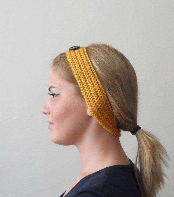 yellow knitted headband  buttons yellow hair bands knit