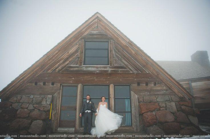 A Mt Hood wedding day at Silcox Hut, above Timberline Lodge, Oregon. Beautiful #bride in a beautiful #weddingdress and a fun party too!  #MtHoodWedding  #SilcoxHut  #WeddingPhotography #MoscaStudio #FotoMatrimonio  © http://www.moscastudio.com
