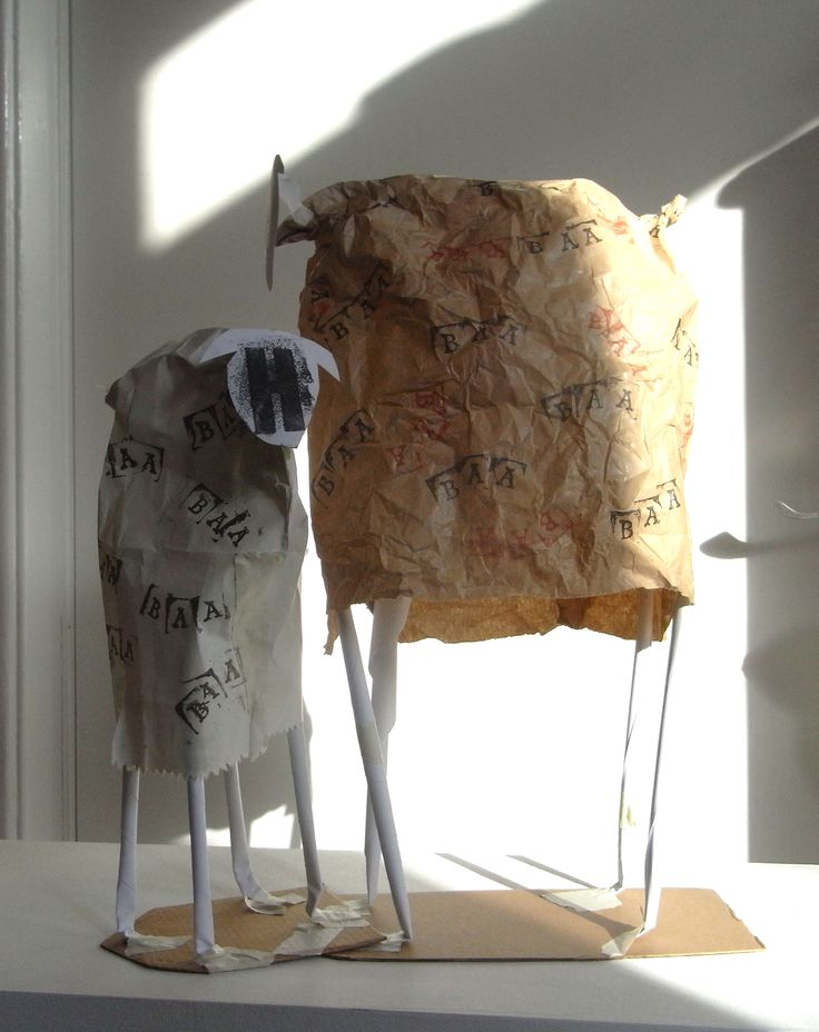 Sheep made from paper bags