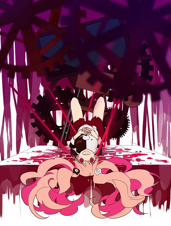 Tags: Anime, 4 (Pixiv1341877), Dangan Ronpa, Enoshima Junko, Monokuma, Blood Splatter, Gear