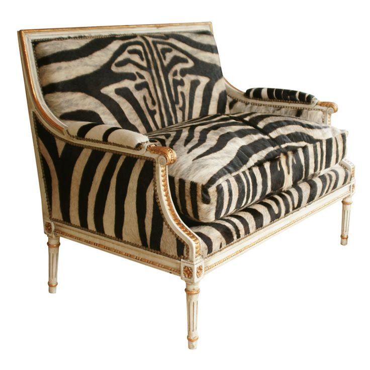 """Louis XVI Giltwood Settee with Zebra Upholstery 43""""Lx24.5""""Dx34""""H"""