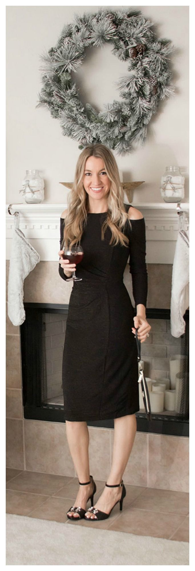 Classic Holiday Style. Black Cold Shoulder Dress. New Years Eve Style- Life By Lee