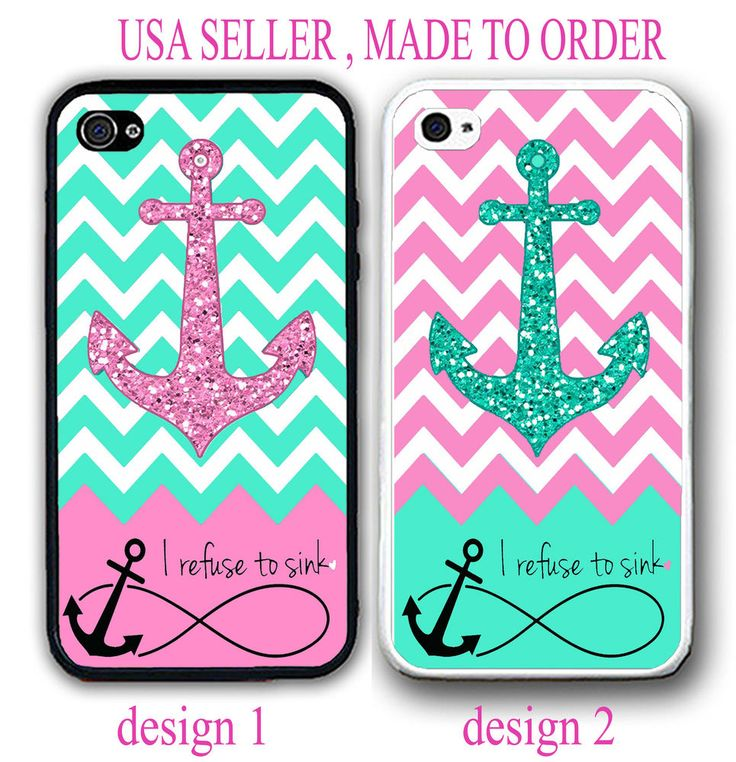 I REFUSE TO SINK INFINITY MINT PINK CHEVRON ANCHOR CASE FOR IPHONE 6S PLUS SE 5S #UnbrandedGeneric