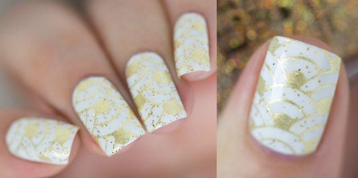 nägel-weiss-gold-trendmosaik-fischschuppen-muster