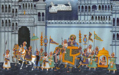 Miniature-Silk-Painting-of-Rajasthan-Procession-with-Indian-Maharaja-on-Elephant-190676493089-2.jpg (400×252)