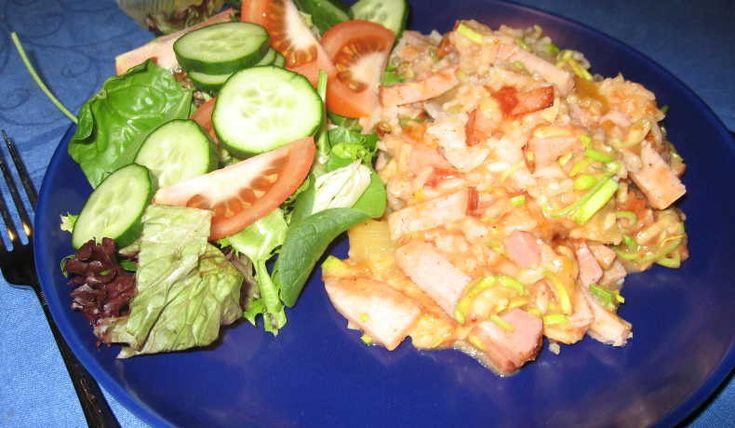 kassler och ananasgratäng   kokaihop.se   kassler, ananas, gratäng, kasslergratäng, ris, allt i en form, mangochutney,