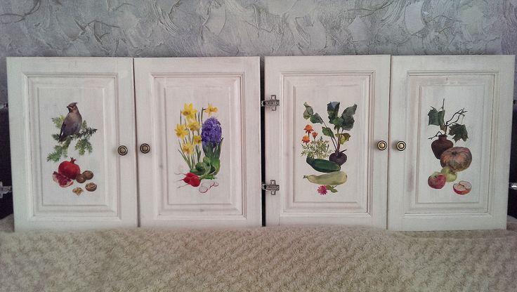Роспись мебели, книжный шкаф своими руками, painted furniture
