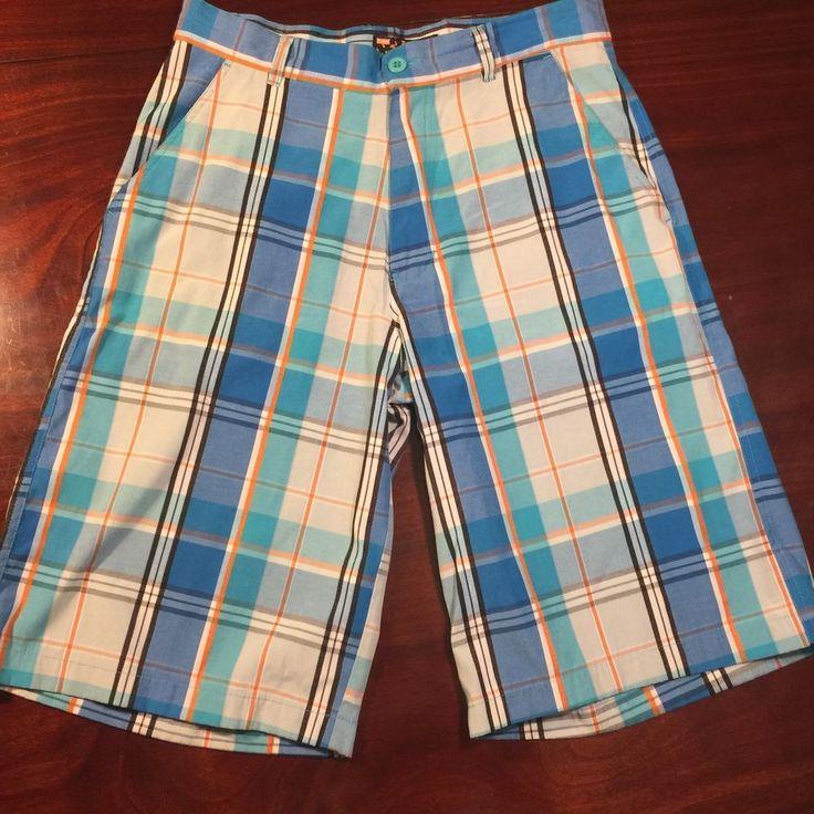 RAW BLUE Sz 32 Blue Turquoise Orange White Mens Long Shorts #RAWBLUE #Shorts