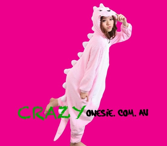 Pink Dinosaur Onesie. 25% off EVERYTHING in store. Free Express Delivery Australia-wide. Visit www.crazyonesie.com.au for more details. Visit our Facebook page https://www.facebook.com/crazyonesie for exclusive competitions and discounts