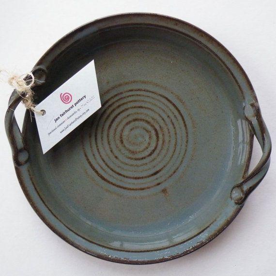 Blue Gray Stoneware Pottery Dish Dining by JanFairhurstPottery