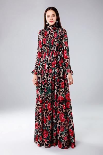 83a3a08aa9fb High quality 2019 designer Runway Maxi dress Women's Long Sleeve Vinta -  chicmaxonline