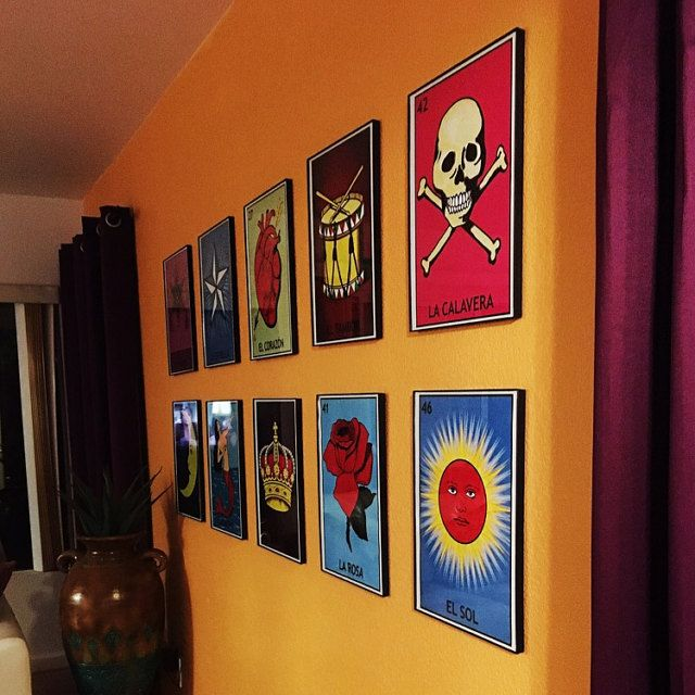 AfterglowJewels added a photo of their purchase la loteria decoration. El sol ,la rosa, el tambor, la calavera, el corazon, la corona, la estrella, la luna. La loteria wall decoration
