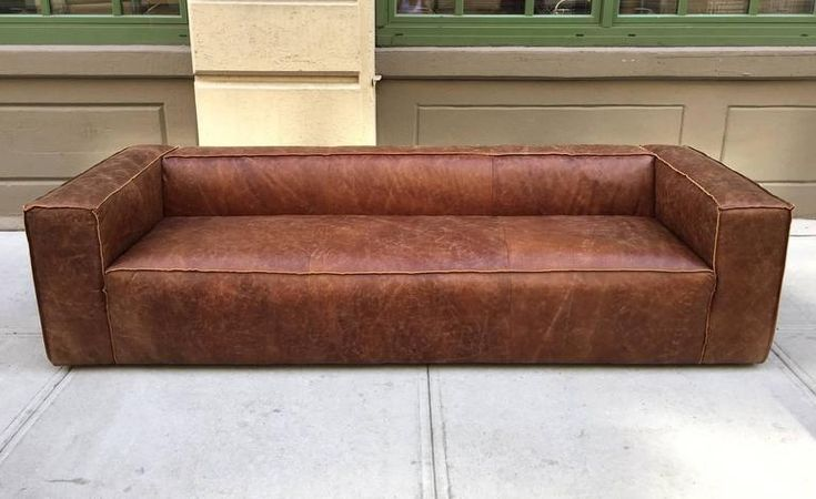 Pair 9 ft. Italian Distressed Leather Sofa 3