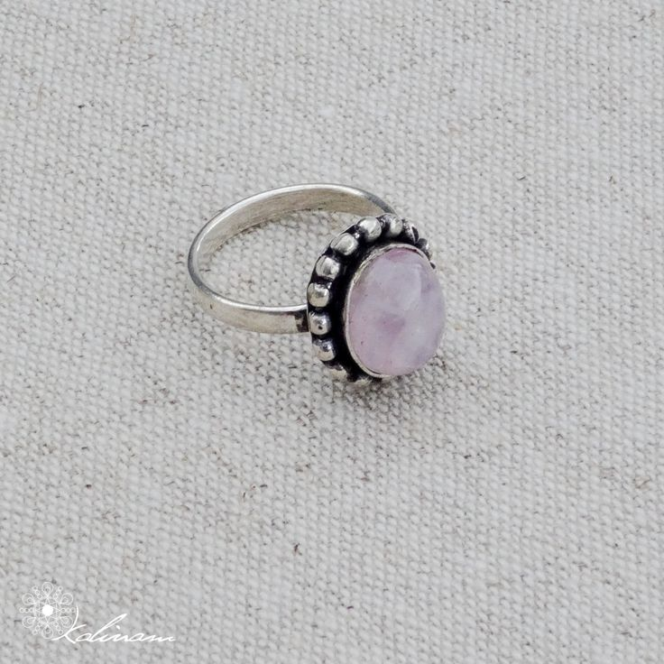 Anel Quatz Rosa, Silver rings, Stone Ring, Gemstone Ring, Rose Quartz Boho rings, tribal, hippie rings, Brighton rings, bohemian, midi rings by KalinamMandalaArt on Etsy