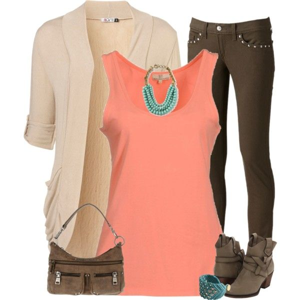 """""""Neutrals With A Pop Of Color"""" by angiejane on Polyvore"""