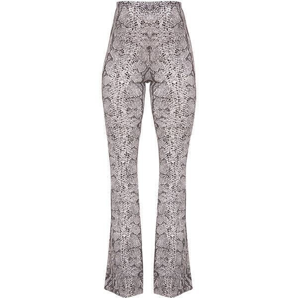 Madilyn Snake Print Flared Trousers ($32) ❤ liked on Polyvore featuring pants, snakeskin print pants, white flare pants, white flared trousers, flare pants and python pants