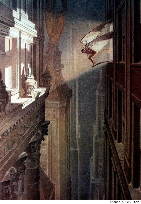 Art by Francois Schuiten, Vol de Nuit