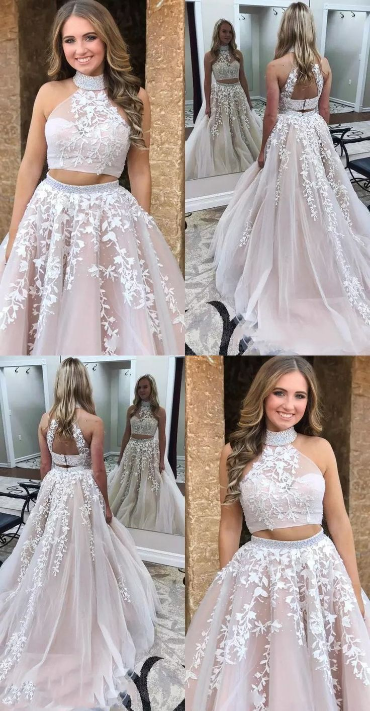 ad.  two piece graduation party gowns with appliqes,open back junior prom dresse…